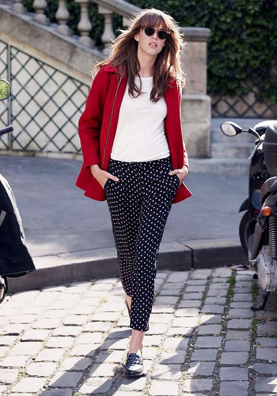 Claudie Pierlot Autumn/Winter, black dotted trousers, with white T-shirt and red jacket, women's style