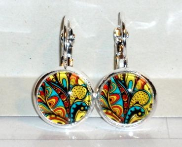 Ohrringe Ethno Afrika Modeschmuck Legierung Glas handgefertigt Damen Hänger Ohrschmuck Neuware