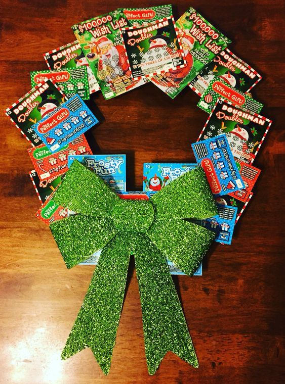 Pennsylvania Lottery Scratch-Off Ticket Christmas Gift Wreath: