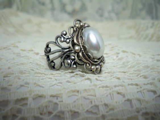 Pearl Ring   Vintage Style Ring  Free by TwystedCreations