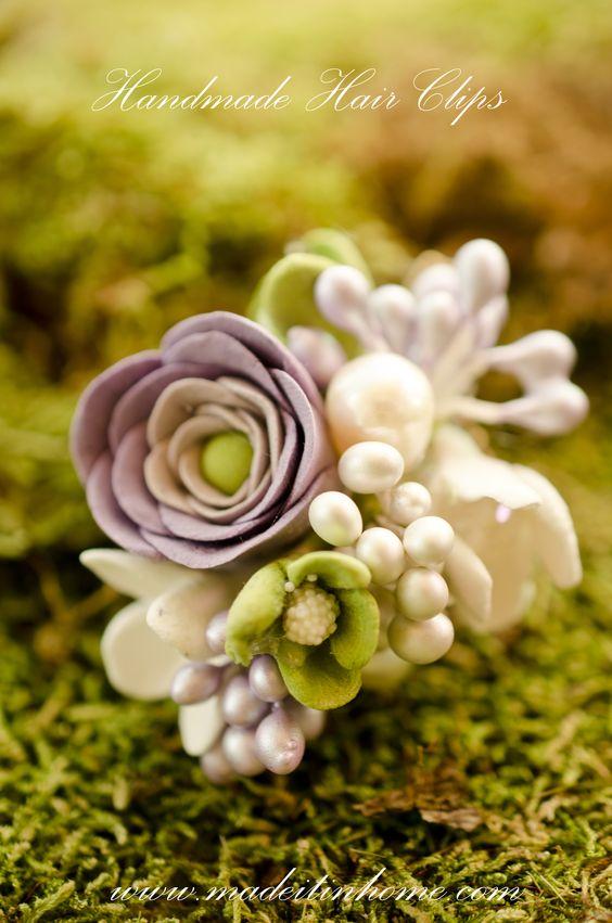 clay flowers hair pin