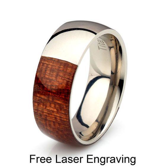 Wooden Ring Half way Titanium Mahogany wood band 8mm by carat323