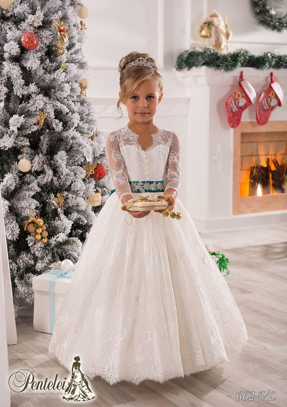 Vintage Long Sleeves Lace Ball Gown Baby Girl Birthday Party ...