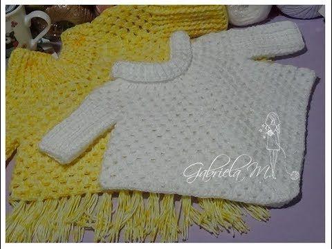 Poncho Con Mangas En Crochet Paso A Paso Todos Los Tamaños Youtube Crochet Baby Sweaters Crochet Baby Crochet Cables Pattern