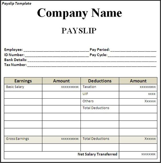 Get Employee Pay Slip Template Format Projectmanagersinn Excel - free payslip template south africa