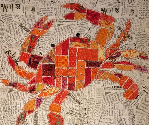 "Crab Quilt KIT, Jimmy, Red/Orange, Raw Edge Applique, 48"" x 40"" - KIT by QuiltVine on Etsy"