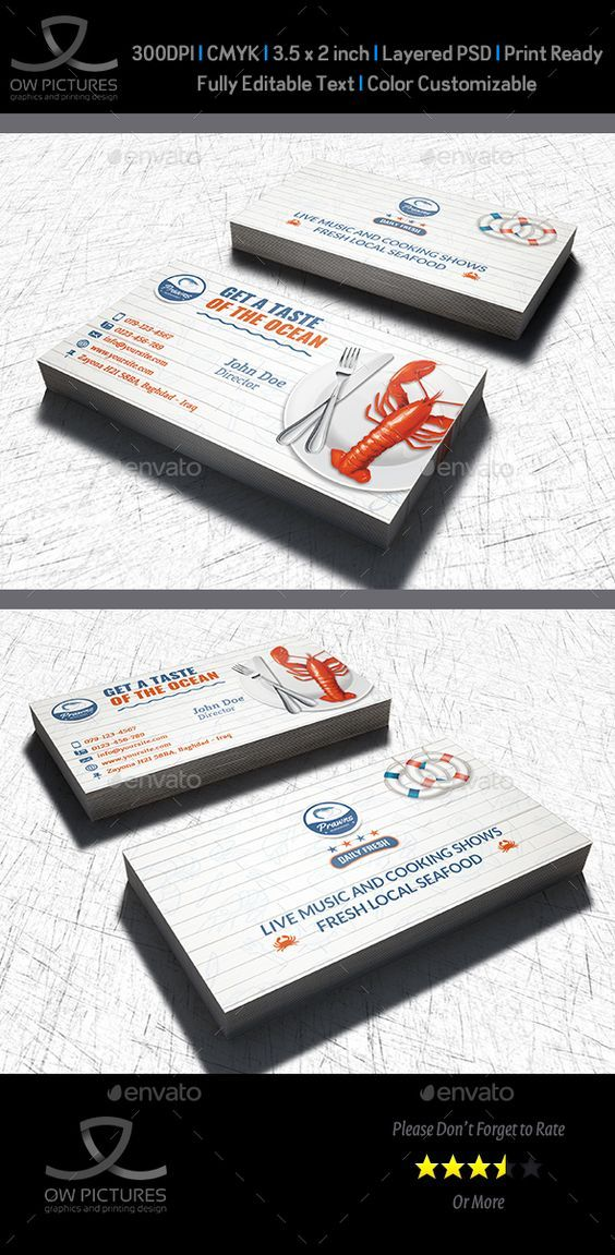 Seafood Restaurant Business Card Template Restaurant Business Cards Business Card Template Photoshop Printing Business Cards