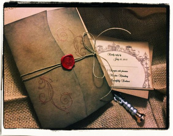 Gothic Vintage Inspired Wedding Invitation suite by cuteNtrendy