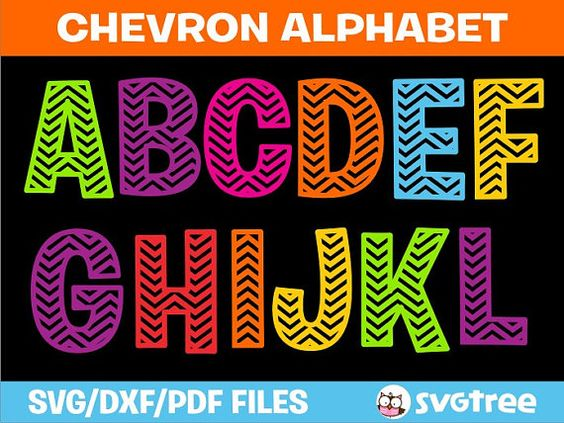 Chevron Alphabet All Caps svg dxf pdf Vector Art File by SVGTree