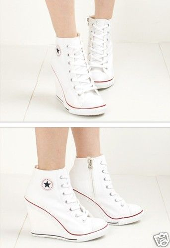 wedge high heel high top sneakers tennis shoes white