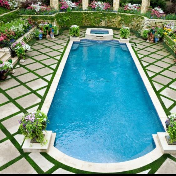 Pools landscaping and grasses on pinterest for Gardens around pools