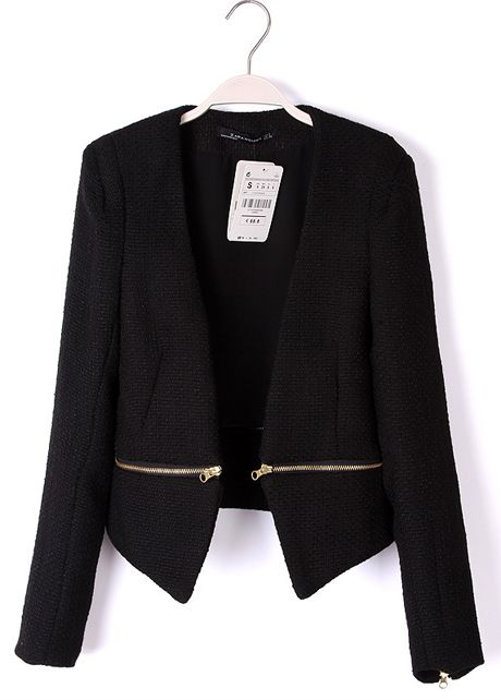 Cheap Formal Long Sleeve Zipper Decoration Solid Black Blazer in ...