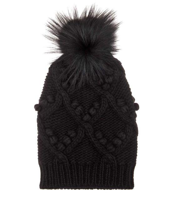 Black cashmere beanie with fur