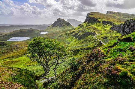 Formations rocheuses de Quiraing sur l'île de Skye, en Écosse.