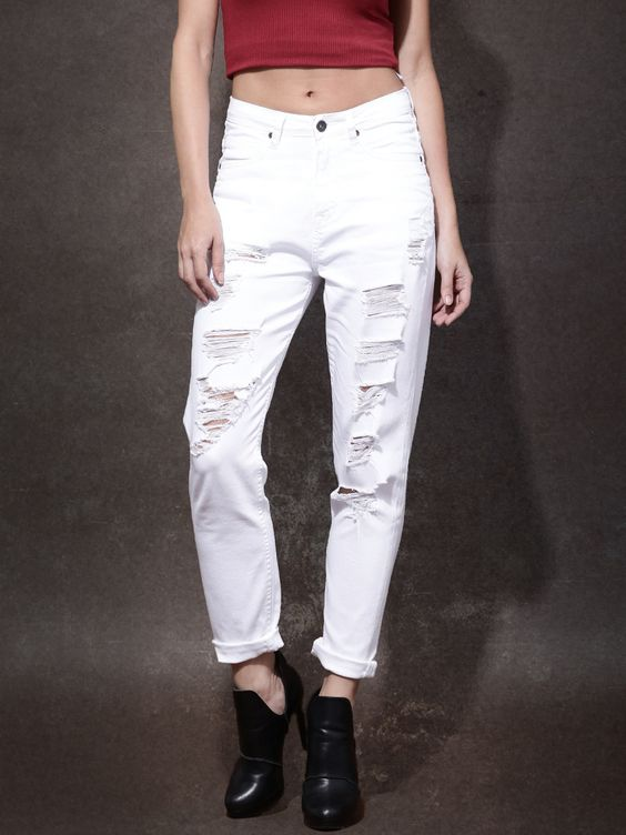 Roadster White Solid Boyfriend Fit Mid Rise Highly Distressed ...