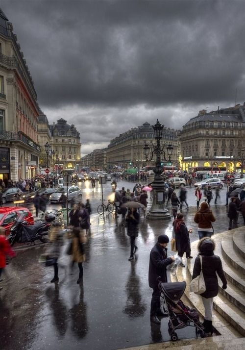 The photo fits good for stormy since you can see the people holding their umbrellas and they have their thick coats.