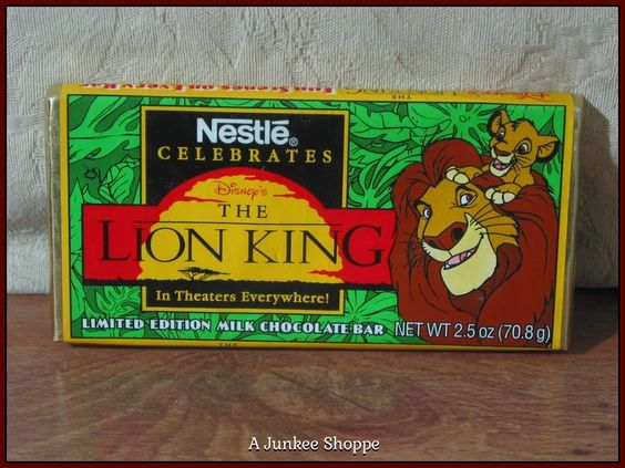 LION KING, The Disney Movie 1994 Nestle Promotional Release Candy Bar Unopened  P733  http://ajunkeeshoppe.blogspot.com/