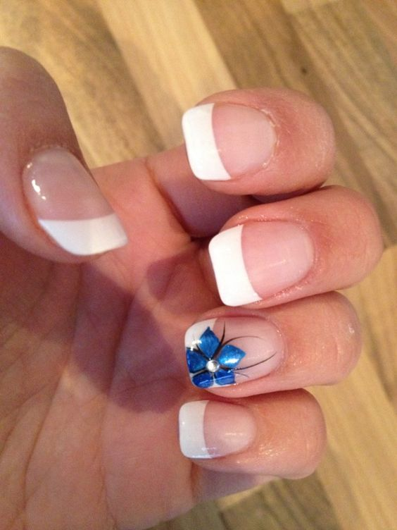 French manicure Blue flower