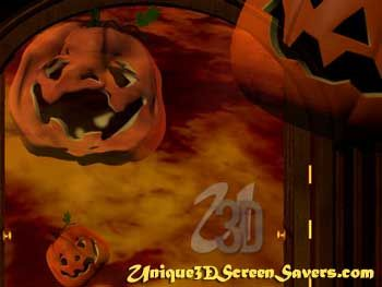 Jack-o-screamer - Doors open to display a flaming inferno. Giant animated Jack-O-Lanterns with tortured features grow in size and float through the opened door.