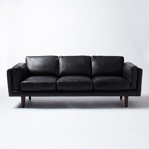 Petersen Leather Sofa - Black | west elm