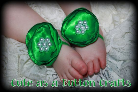 Emerald Green Barefoot Baby Sandals OTHER COLORS by tootoocute4you, $9.99