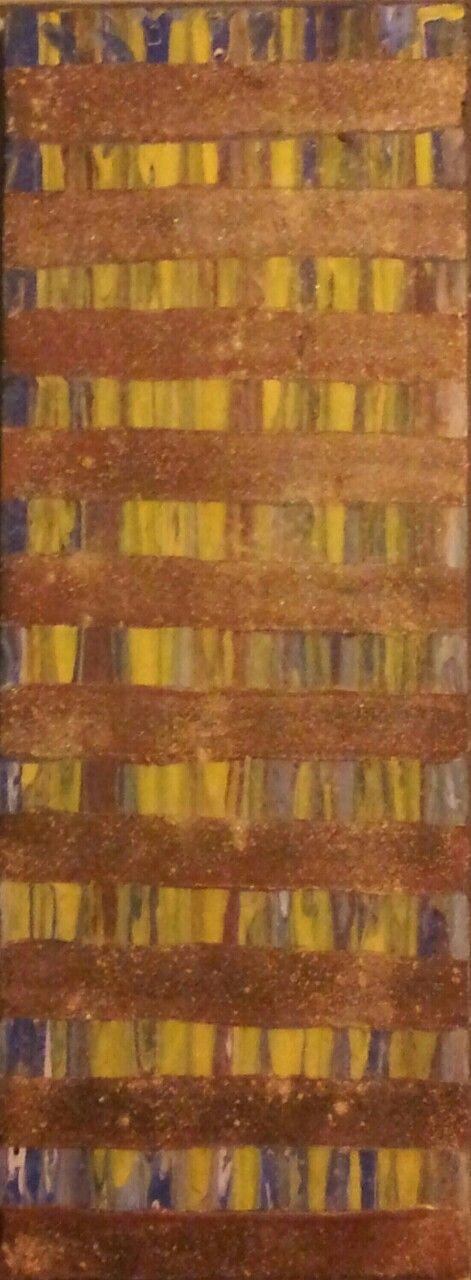 """Stripes, Streaks, & Sparkle"" acrylic paint & blush on wood 7.12"" X 16.5"" $25"