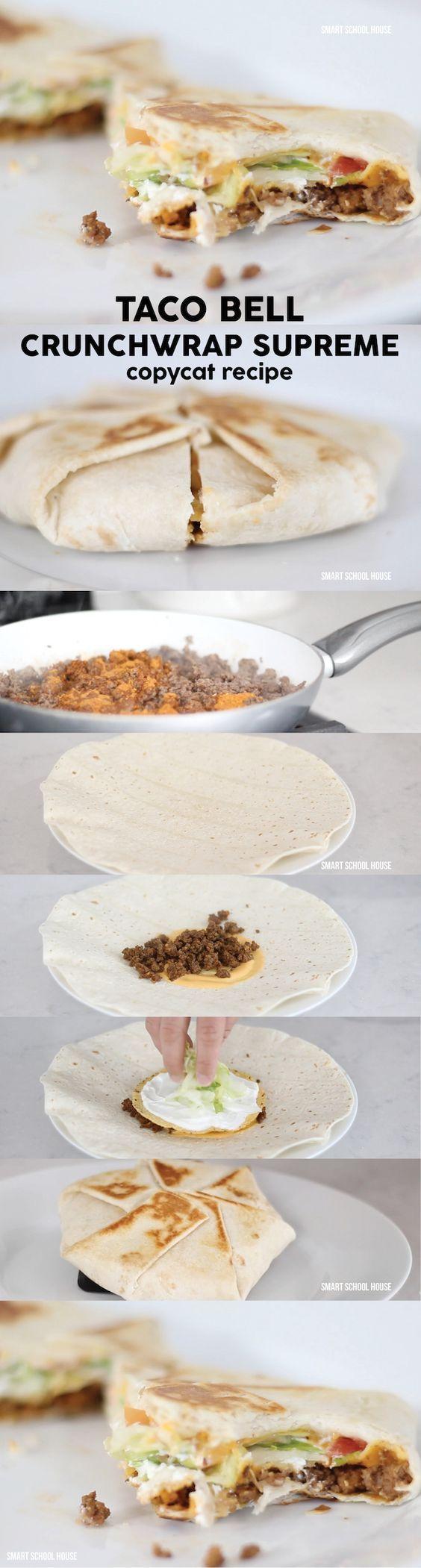 DIY Taco Bell Crunchwrap Recipe - Smart School House DIY Taco Bell Crunchwrap Supreme copycat recipe to make a home. Saving this!