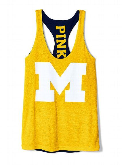 University of Michigan Reversible Racerback Tank - Victoria's Secret PINK® - Victoria's Secret