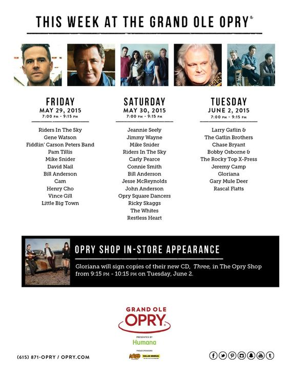 Who's ready for another jam-packed #Opry week?