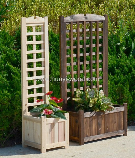 Wooden Planter Boxes With Trellis Especially Good For Climbing Plants Pre Drilled Easy For Install Planter Box With Trellis Garden Planter Boxes Garden Boxes
