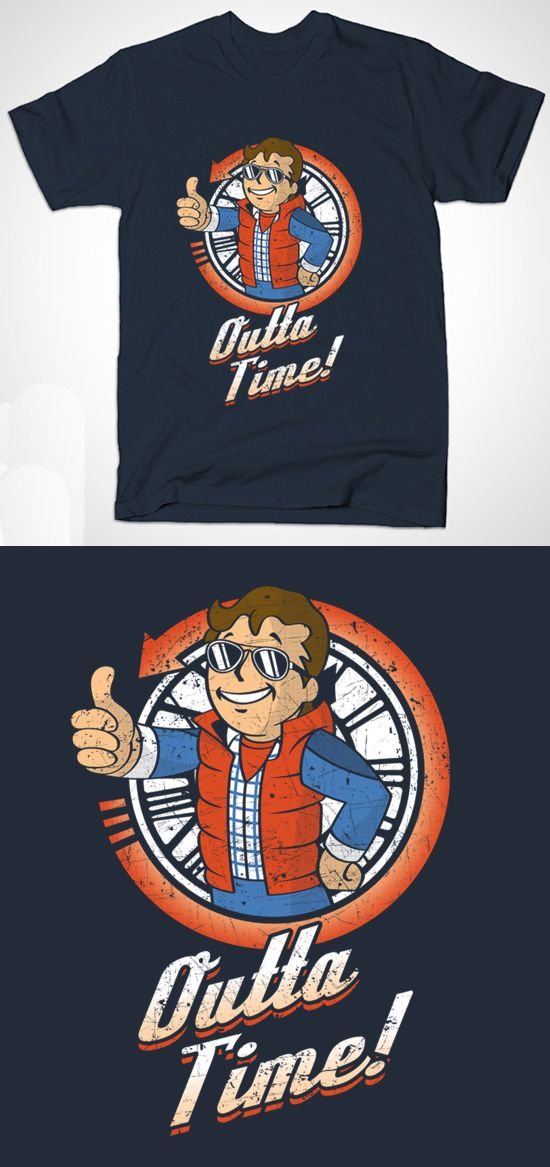 Fallout Vault Boy Back To The Future T Shirt | An awesome futuristic mashup featuring Vault Boy as Marty McFly with the phrase 'outta time'. | Retro design | Visit http://shirtminion.com/2015/10/fallout-vault-boy-back-to-the-future-t-shirt/