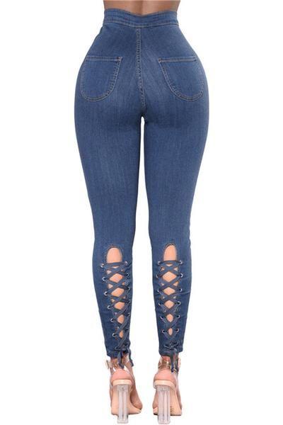 Sayhi Girl Elastic Waist Cute Jogger Trousers Denim Jean Pants
