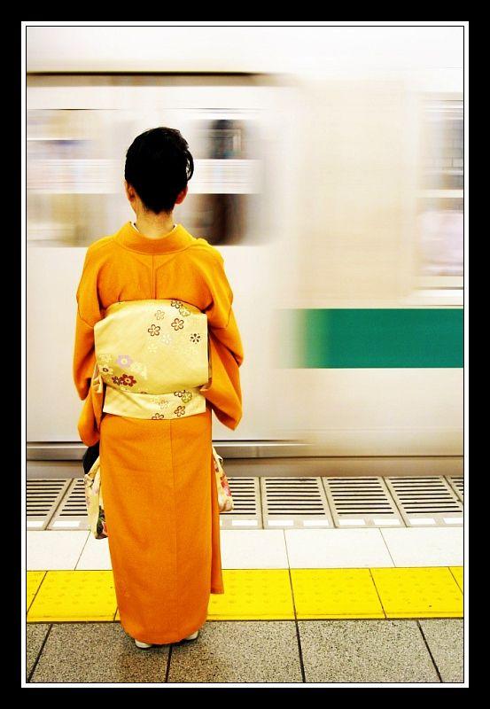 Kimono on the Metro - Tokyo