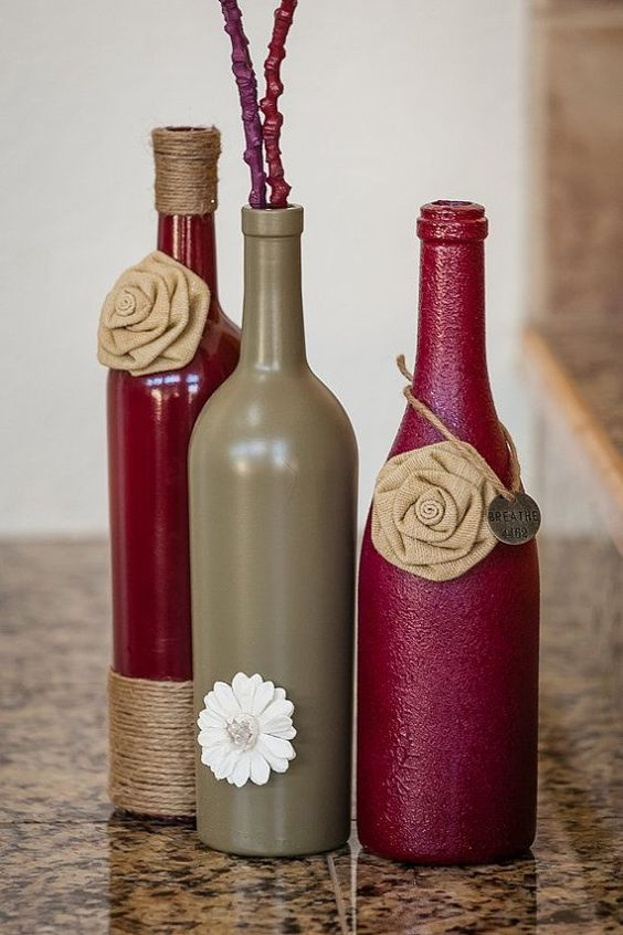 Diy wine bottle empty wine bottles and easy diy crafts on for What to make with empty wine bottles