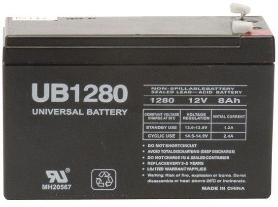 upg - sealed lead acid batteries (12v; 8ah; .187 tab terminals; ub1280)