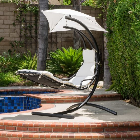 Swinging Lounge Chair. This WonderfulSwinging Lounge Chair Features A  Sturdy Steel Frame And Comfortable Padding With A Matching UV Protected  Canopy, ...