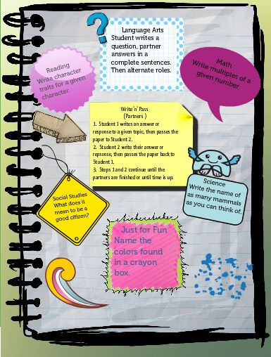 Write 'n' Pass cooperative learning strategy with ways to use in content areas