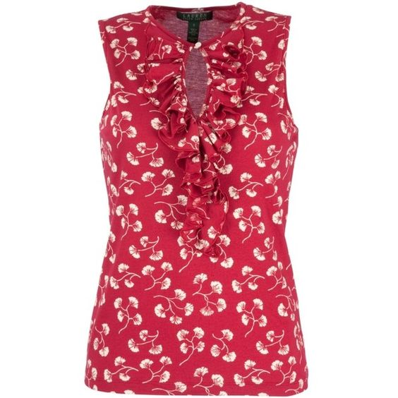 Ralph Lauren Sleeveless Frill Front Blouse, Red/Pearl ($96) ❤ liked on Polyvore