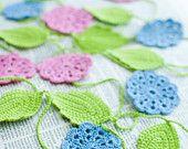 Crochet flower garland - Wedding Birthday Party Valentine decoration - Bright - Pink, Sky Blue, Spring Green