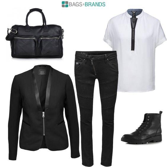 Glam-Rock Outfit in cooler schwarz/weiß Kombi mit Zipper-Elementen. Dazu passend THE BAG von COWBOYSBAG.   #bagsandbrands #cowboysbag #thebag #leder #blackwhite #handtaschen