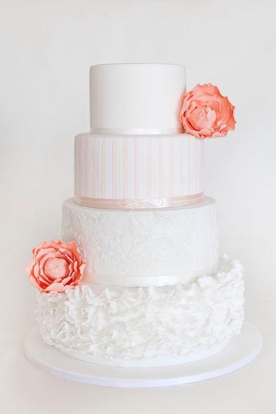 White wedding cake with peach peonies - Yum ME Cakes