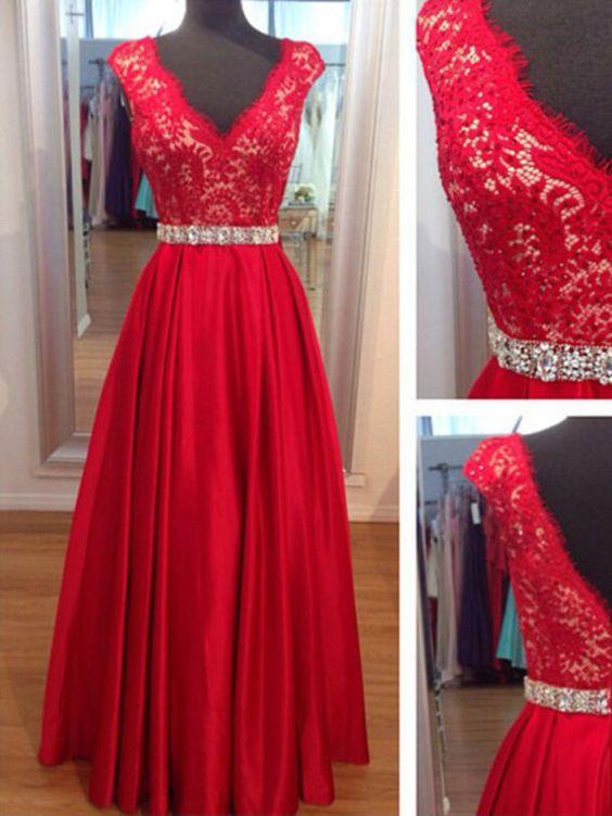 A-line+V-neck+Floor-length+Satin+Prom+Dresses/Evening+Dresses+#SP1118