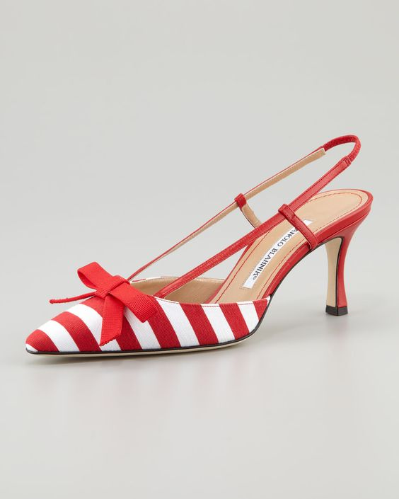 Candy cane Red and white stripes Sling back pumps - Women's fashion #shoes / Manolo Blahnik   Neiman Marcus (on sale!!)
