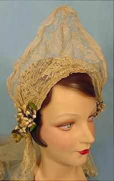 c. 1910's -1920's Long Dark Ecru Lace Wedding Veil with Tall Wired Headpiece and Wax Flowers.
