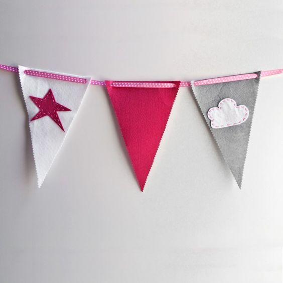Kit banderines de fieltro disponible en la shop. http://fdefifi.com/es/guirnaldas-y-banderines/139-kit-banderines-fieltro-fucsia.html