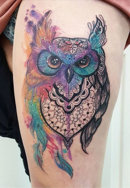 Cool Watercolor Owl Tattoo C Tattoo Artist Joanne Baker Owl Tattoo Design Watercolor Owl Tattoos Body Art Tattoos
