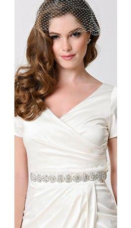 Ivory & Silver Crystal Floral Beaded Kate Bridal Sash
