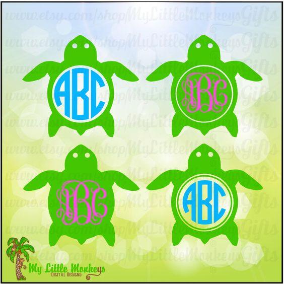 Monogram Turtle Monogram Frame Base Designs Digital Clipart Instant Download Full Color Jpeg, Png, SVG, DXF EPS Files - pinned by pin4etsy.com