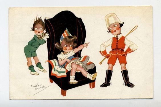 T2378 Chicky Spark Kids Girl in Chair Boy with Whip Postcard | eBay: