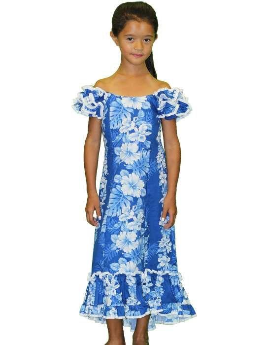 Girl/'s Royal Blue Hawaiian Print Muu/'Muu Dress//Haku Laape